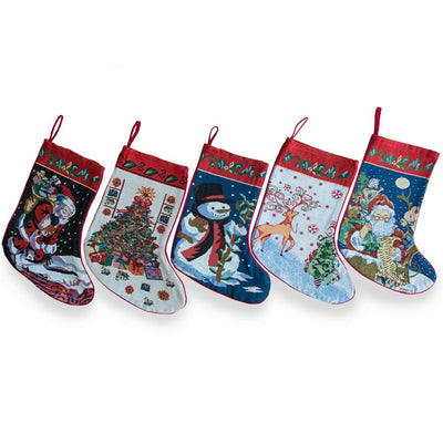 Set of 5 Santa, Snowman, Reindeer & Tree Christmas Stockings 18 Inches by BestPysanky