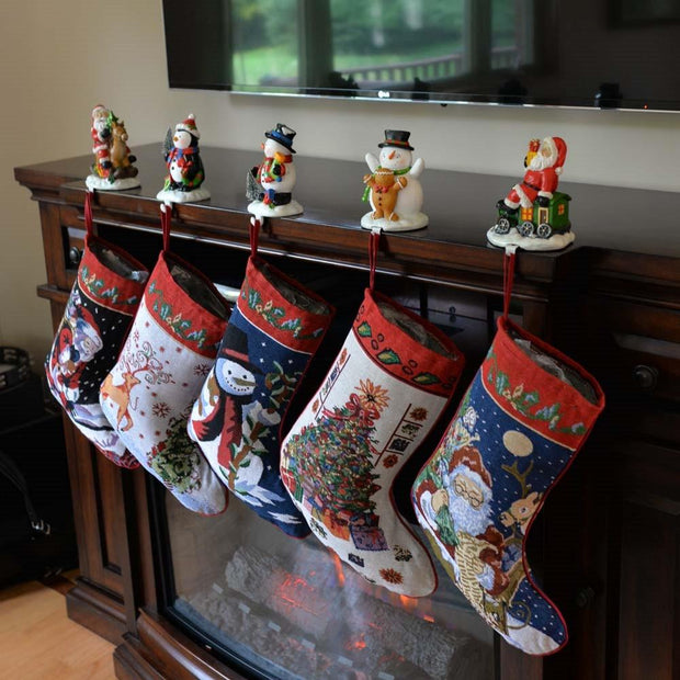 Buy Online Gift Shop Set of 5 Santa, Snowman, Reindeer & Tree Christmas Stockings 18 Inches
