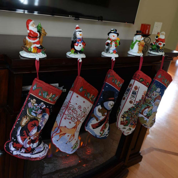Set of 5 Santa, Snowman, Reindeer & Tree Christmas Stockings 18 Inches