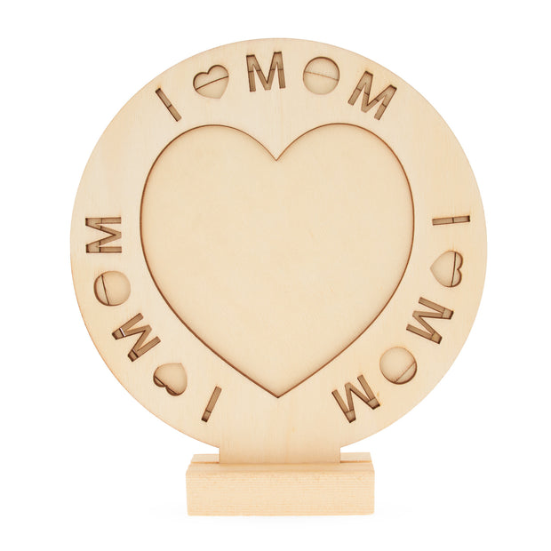 "Unfinished Standing Wooden ""I Love Mom"" Picture Frame DIY Craft 6.7 Inches by BestPysanky"