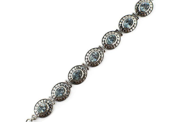 Buy Online Gift Shop Blue Topaz Sterling Silver Bracelet
