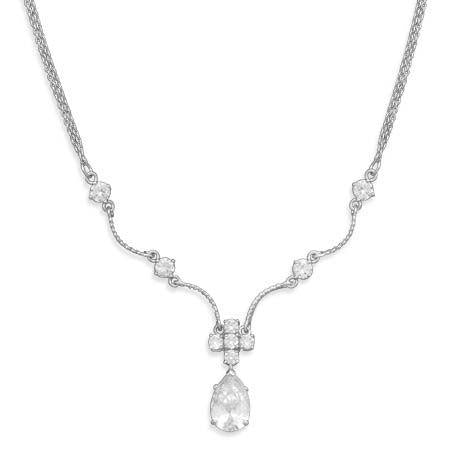 BestPysanky Jewelry > Necklaces - CZ 2 Strand Sterling Silver Necklace