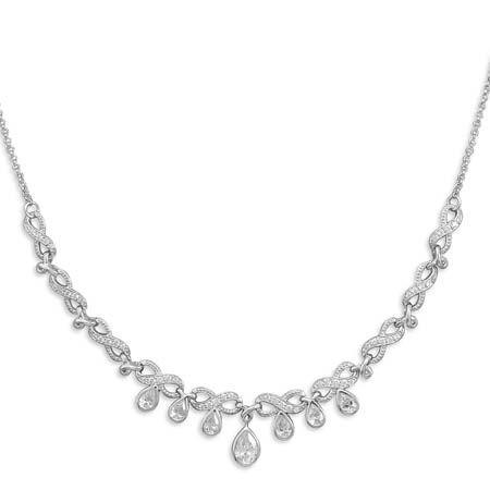 Buy Online Gift Shop 7 CZ Drops Sterling Silver Necklace