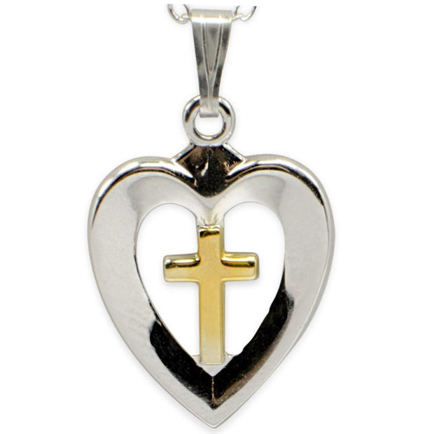 BestPysanky Jewelry > Pendants > Sterling Silver - Heart with Cross Sterling Silver Pendant