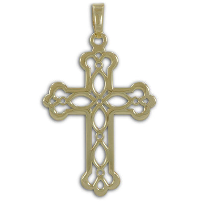 BestPysanky Jewelry > Necklaces - 14kt Gold Plated Ornate Cross Pendant