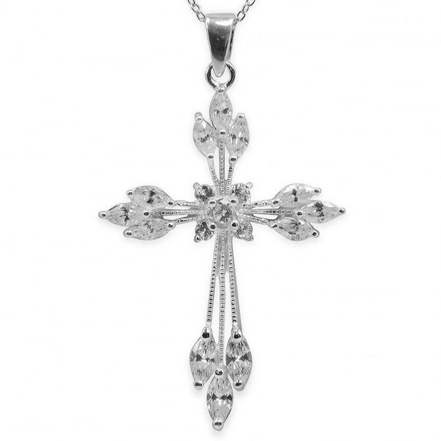 Cut Out Marquise Sterling Silver Cross Pendant by BestPysanky