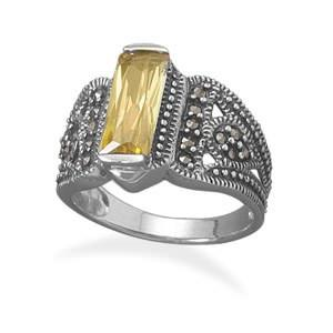 BestPysanky Jewelry > Rings > Women's - Yellow CZ and Marcasite Sterling Silver Ring (Size 7)