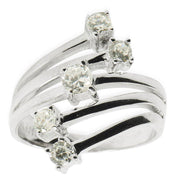 BestPysanky Jewelry > Rings > Women's - 5 Row CZ Sterling Silver Ring (Size 7)