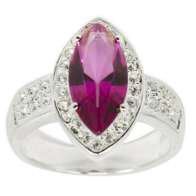 Fuchsia Marquise CZ Sterling Silver Ring (Size 8) | BestPysanky
