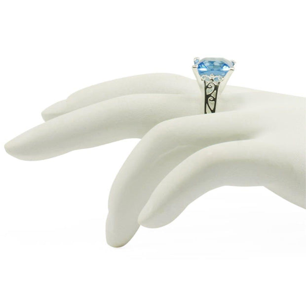 Light Blue Glass Sterling Silver Ring (Size 7)
