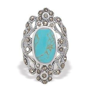 BestPysanky Jewelry > Rings > Women's - Simulated Turquoise and Marcasite Sterling Silver Ring (Size 7)