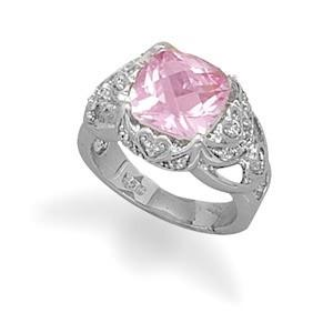 BestPysanky Jewelry > Rings > Women's - Synthetic Pink Sapphire and Clear CZ Sterling Silver Ring (Size 8)