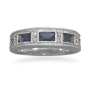 BestPysanky Jewelry > Rings > Women's - Dark Blue and Clear CZ Sterling Silver Ring (Size 7)