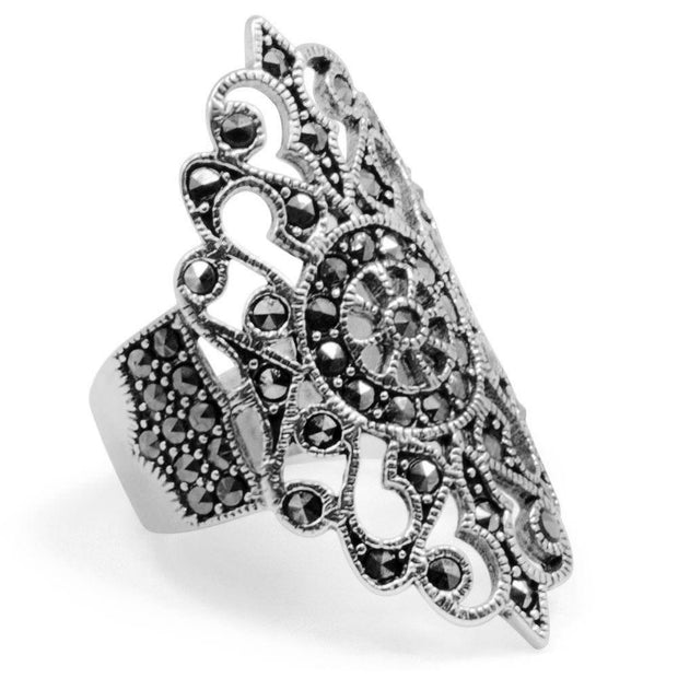 BestPysanky Jewelry > Rings > Women's - Ornate Marcasite Sterling Silver Ring (Size 7)