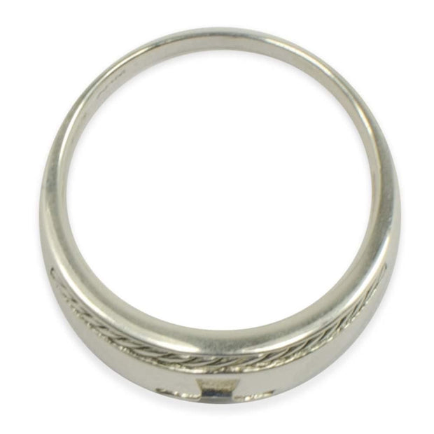 Cut Out Cross Ring Sterling Silver Men's Ring (Size 10)