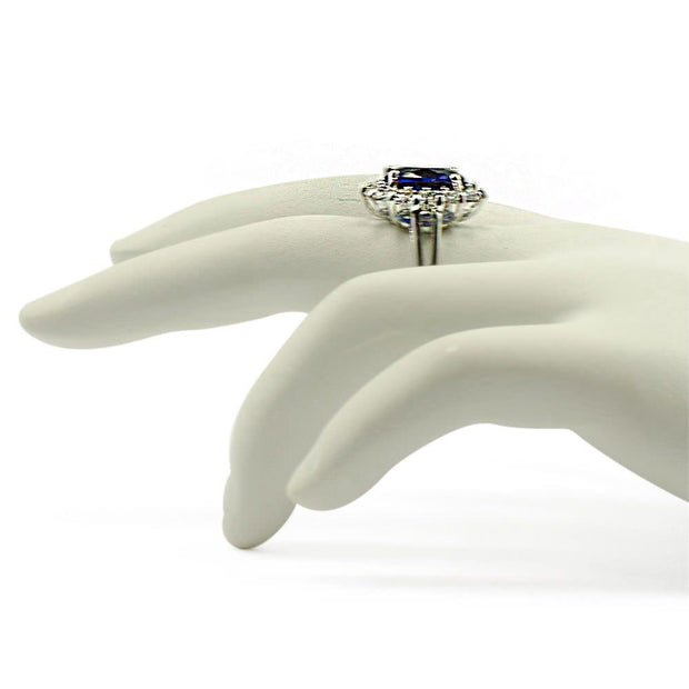 Blue and Clear CZ Sterling Silver Ring (Size 6)