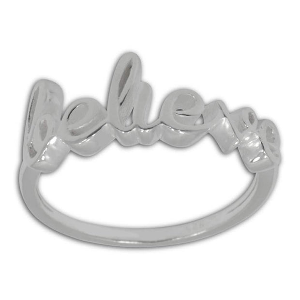 "BestPysanky Jewelry > Rings > Women's - ""Believe"" Sterling Silver Ring (Size 8)"