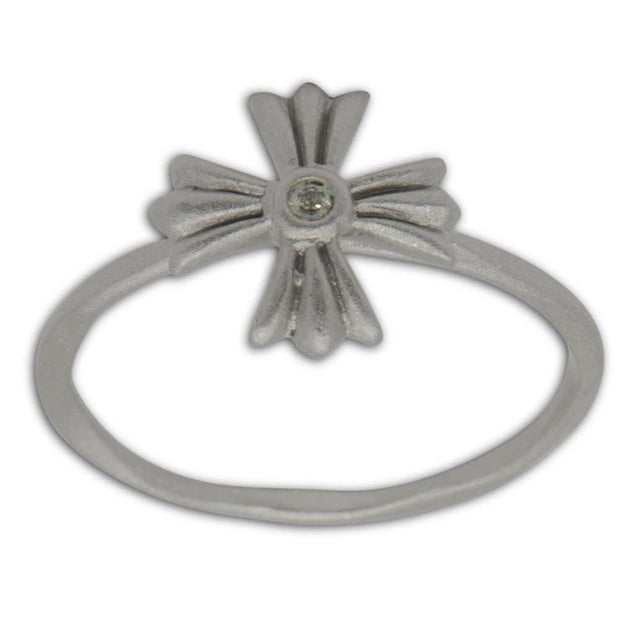 Satin Finish Cross Sterling Silver Ring (Size 8) by BestPysanky