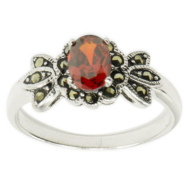 Red CZ with Marcasite Sterling Silver Ring (Size 8) | BestPysanky