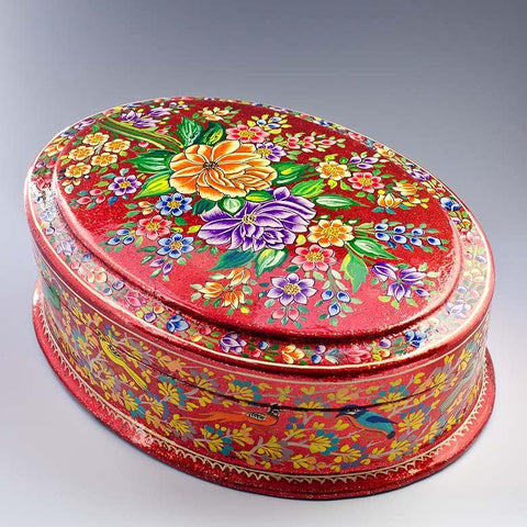 "BestPysanky Gifts > Wooden Jewelry Box - 10.5"" (L) Srinagar Flowers Oriental Asian Wooden Jewelry Box"