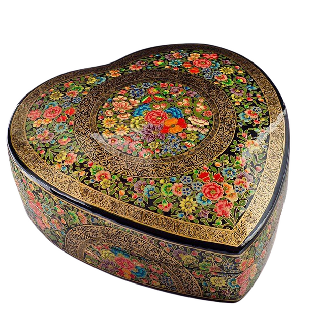 Oriental Flowers Asian Wooden Jewelry Box 9.5 Inches Long by BestPysanky