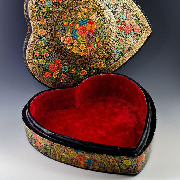 "9.5"" (L) Oriental Flowers Asian Wooden Jewelry Box 