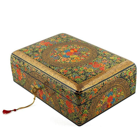 "BestPysanky Gifts > Wooden Jewelry Box - 10'' X 7"" Asian Mountain Flowers Oriental Wooden Jewelry Box"