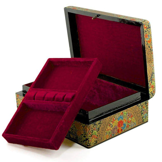 Asian Mountain Flowers Oriental Wooden Jewelry Box 10 Inches X 7 Inches