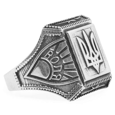 Ukrainian Trident Tryzub Sterling Silver Men's Ring (Size 10) by BestPysanky
