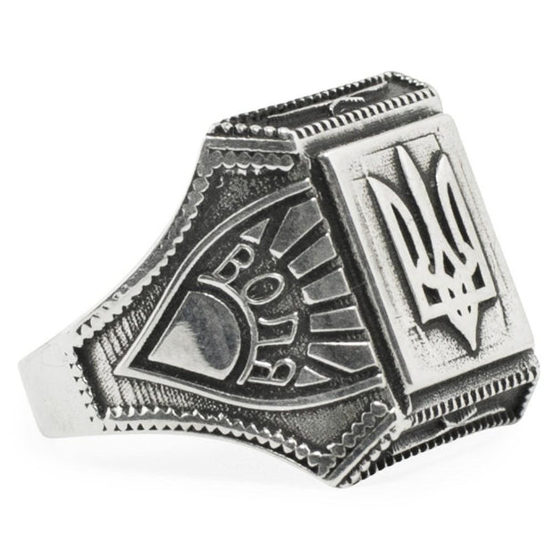 Ukrainian Trident Tryzub Sterling Silver Men's Ring (Size 9) by BestPysanky