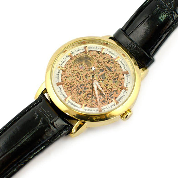 BestPysanky Watches > Men's Watches - Winner Gold Plated Skeleton Dial Men's Automatic Mechanical Watch