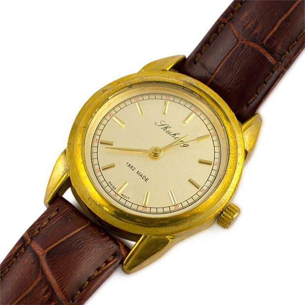 Zhuang Classic Golden Plated Brass Case Men's Mechanical Automatic  Watch by BestPysanky