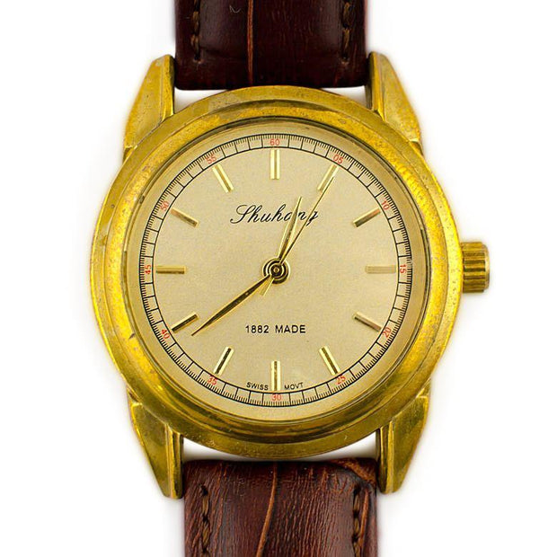 BestPysanky Watches > Men's Watches - Zhuang Classic Golden Plated Brass Case Men's Mechanical Automatic  Watch