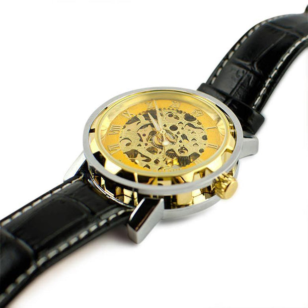 Gold Plated Skeleton Dial Men's Automatic Mechanical Watch by BestPysanky