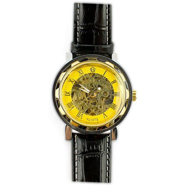 Buy Online Gift Shop Gold Plated Skeleton Dial Men's Automatic Mechanical Watch