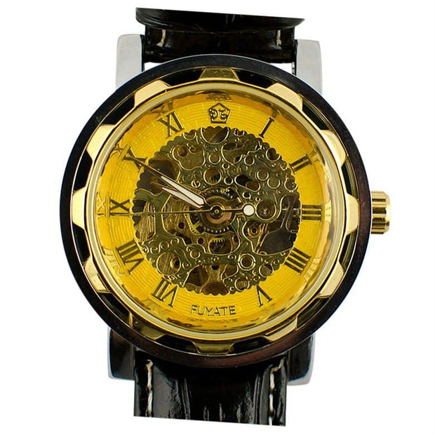 Fuyate Gold Plated Skeleton Dial Men's Automatic Mechanical Watch | BestPysanky