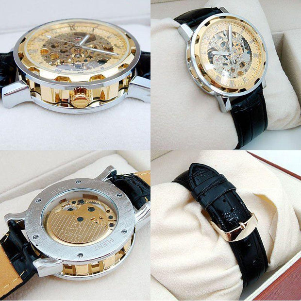Gold Plated Skeleton Dial Men's Automatic Mechanical Watch