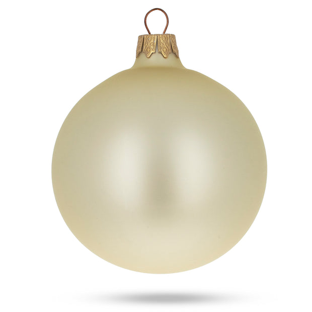 Set of 6 Champagne Solid Color Glass Ornaments 3.25 Inches
