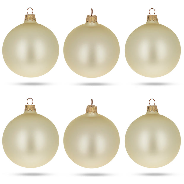 Set of 6 Champagne Solid Color Glass Ornaments 3.25 Inches by BestPysanky