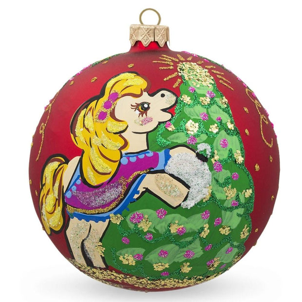 Pony Horse Decorating Tree Glass Ball Christmas Ornament 3.25 Inches by BestPysanky
