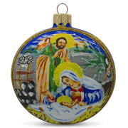 Joseph and Mary Admiring Baby Jesus Glass Ball Christmas Ornament 3.25 Inches by BestPysanky
