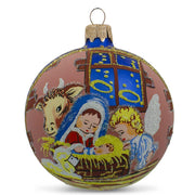 Silent Night Nativity Scene Glass Ball Christmas Ornament 3.25 Inches by BestPysanky