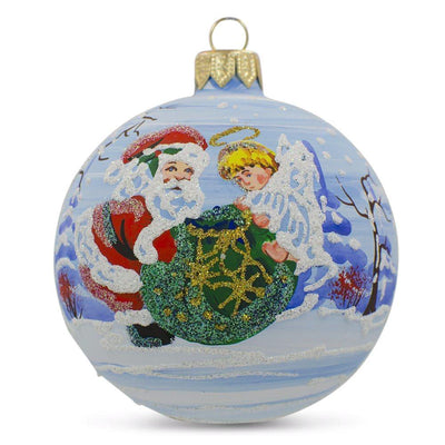 Angel Helping Santa with Christmas Gifts Glass Ball Christmas Ornament 3.25 Inch by BestPysanky