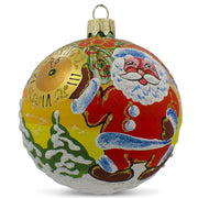 Santa Awaits New Year Holiday Glass Ball Christmas Ornament 3.25 Inches by BestPysanky