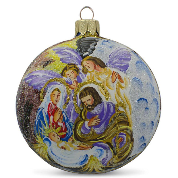Angels Admiring Jesus Nativity Scene Glass Ball Christmas Ornament 3.25 Inches by BestPysanky