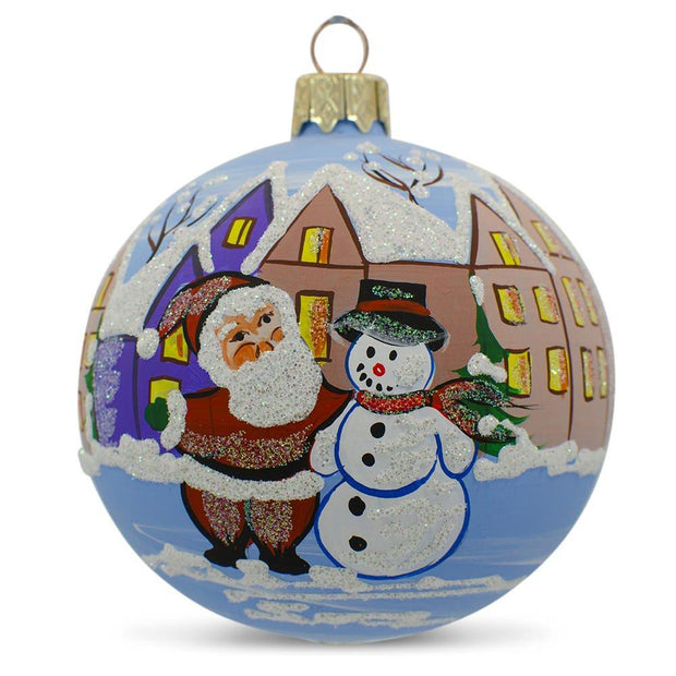 Santa Claus with Snowman by House Glass Ball Christmas Ornament 3.25 Inches by BestPysanky