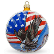 USA Flag and Bald Eagle Glass Ball Christmas Ornament 3.25 Inches by BestPysanky