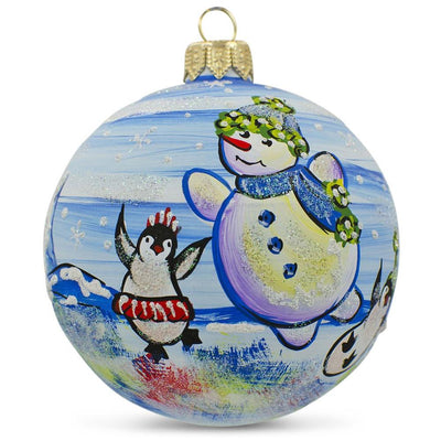 Snowman with Penguin Glass Ball Christmas Ornament 3.25 Inches by BestPysanky