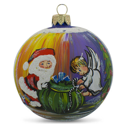 Santa with Angel and Gifts Glass Ball Christmas Ornament 3.25 Inches by BestPysanky