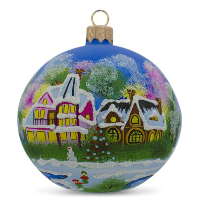 Christmas Night Village Glass Ball Christmas Ornament 3.25 Inches by BestPysanky